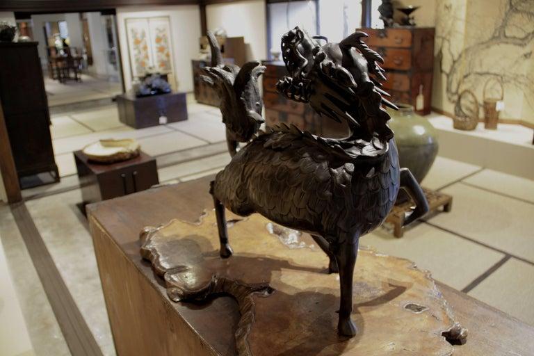 19th Century Figure of Large Standing Kirin Incensor Japan Meiji Bronze Animal Sculpture For Sale