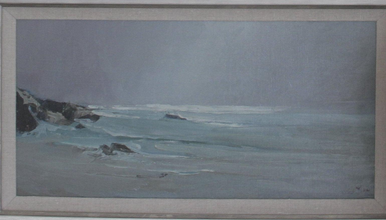 S C  Yuan Oil Painting Pebble Beach California Coastline, circa 1964