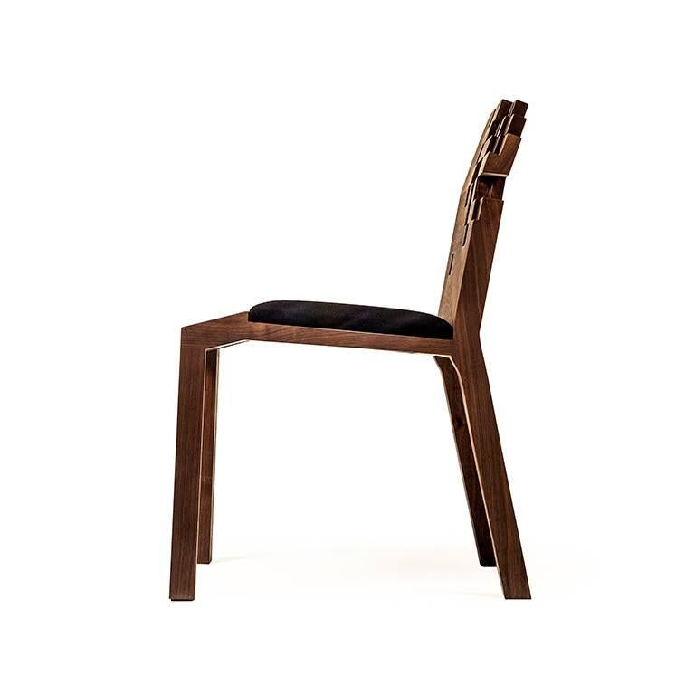 Contemporary Set of Pixel Chairs in Walnut by Olivier Dollé For Sale 1