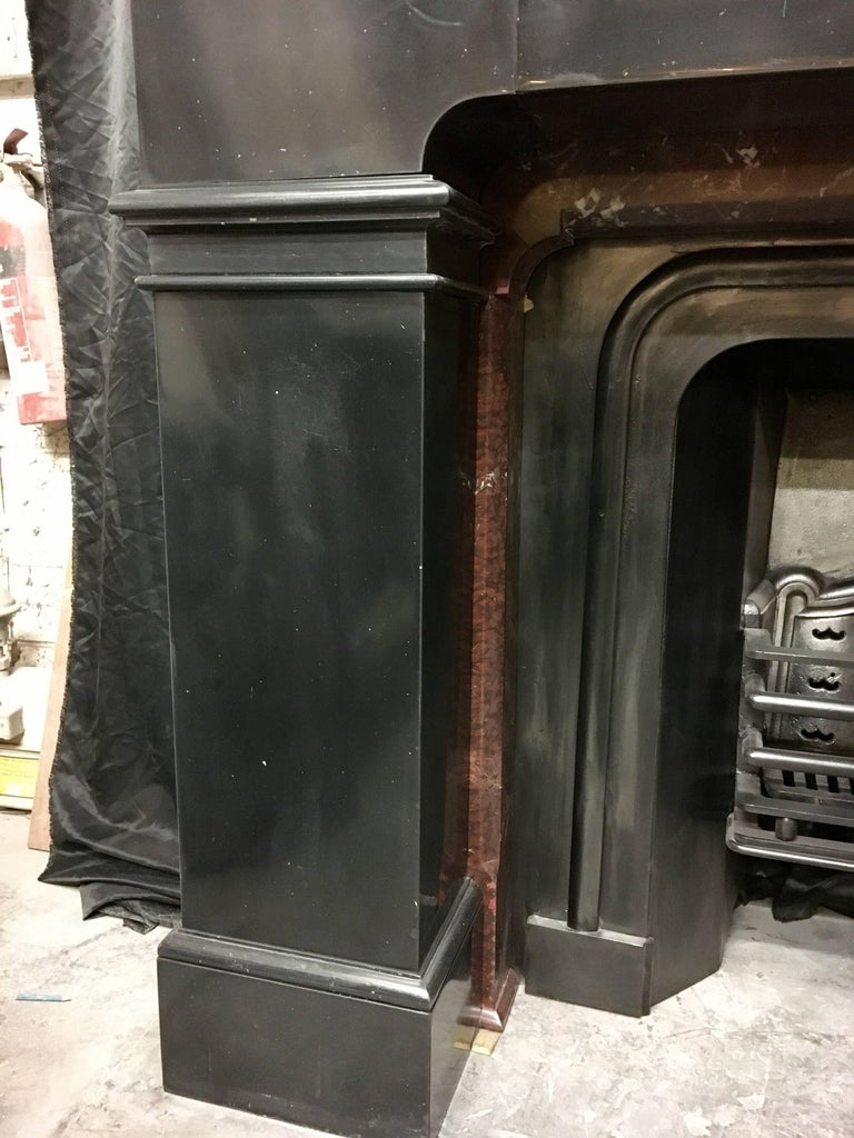 19th Century Victorian Black Marble Fireplace Surround For