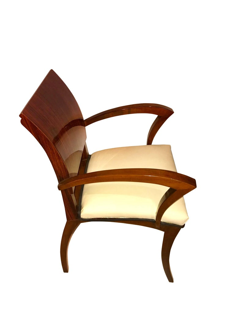 Set of Six Art Deco Armchairs, Rosewood and Beech, France, circa 1925 In Good Condition For Sale In Regensburg, DE