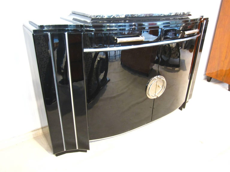 Art Deco Sideboard, Black Lacquer, France circa 1930 3