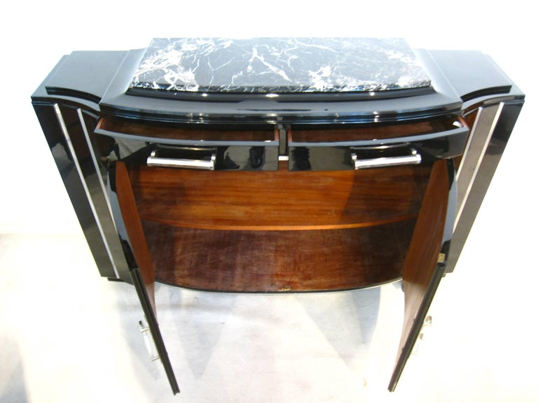 Art Deco Sideboard, Black Lacquer, France circa 1930 6