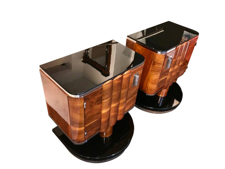 Ebonized Pair of Art Deco Bedside Tables, Walnut/Black/Metal, France circa 1930