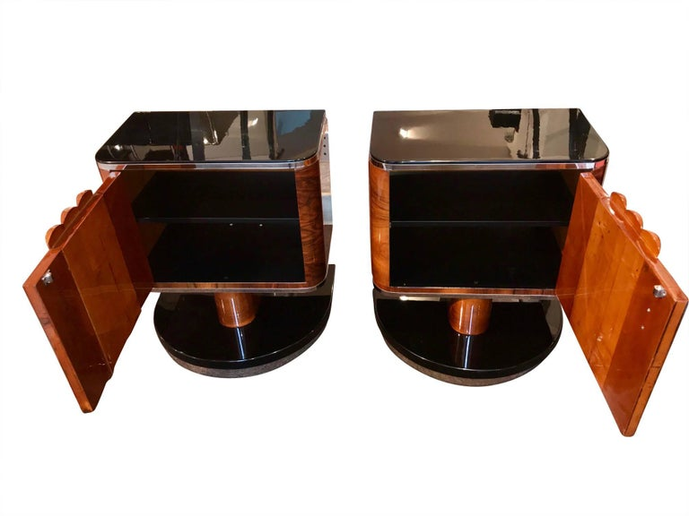 Mid-20th Century Pair of Art Deco Bedside Tables, Walnut/Black/Metal, France circa 1930
