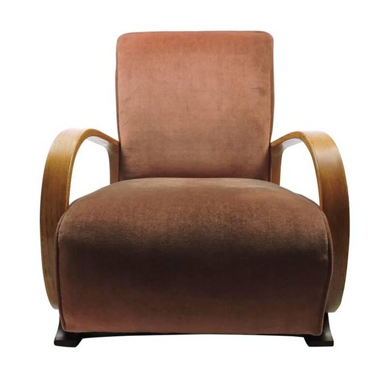 Art Deco Bentwood Upholstered Armchair Made for Heals in ...