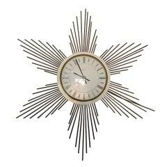 Metal Sunburst Wall Clock from Paico, 1960s
