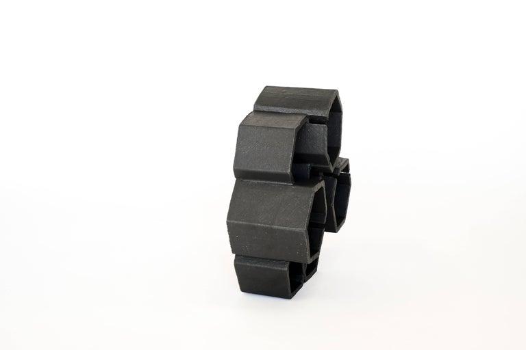 American Geometric Black Ceramic Sculpture by Ben Medansky For Sale