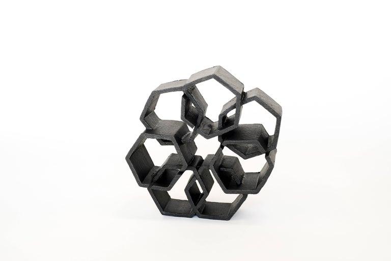 Brutalist Geometric Black Ceramic Sculpture by Ben Medansky For Sale