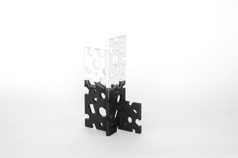 Bauhaus Black and White Glazed Ceramic Sculpture