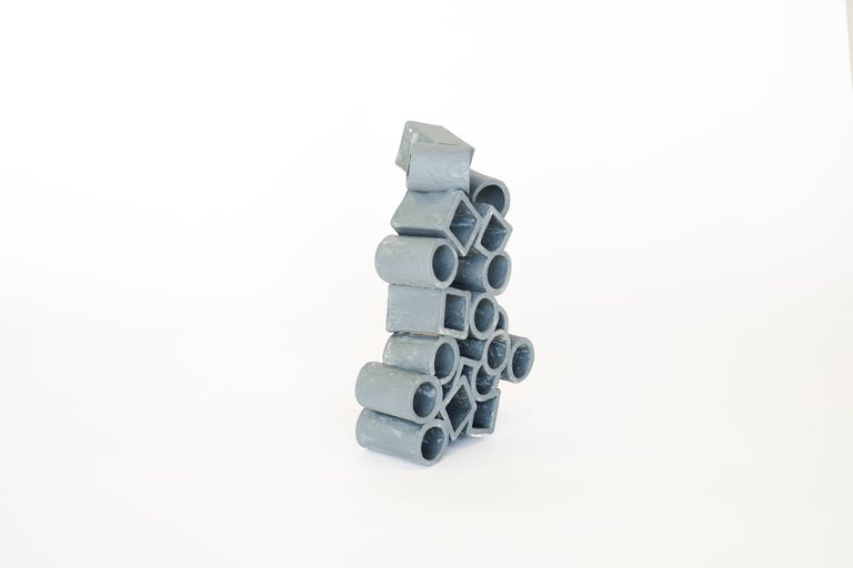 Brutalist Ceramic Sculpture with Teal Crackle Texture by Ben Medansky For Sale