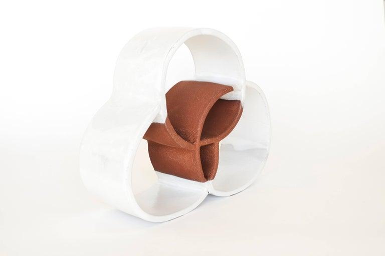 Brutalist White Circle Ceramic Sculpture by Ben Medansky For Sale