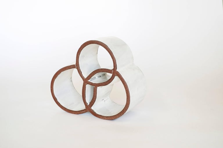 Brutalist White Circle Ceramic Sculpture by Ben Medansky For Sale