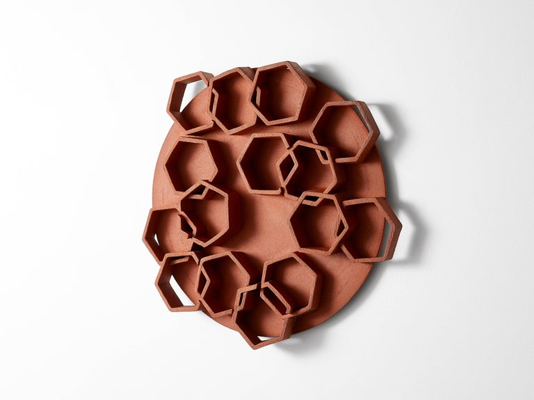 Hexagon Ceramic Wall Sculpture by Ben Medansky In Excellent Condition For Sale In Los Angeles, CA