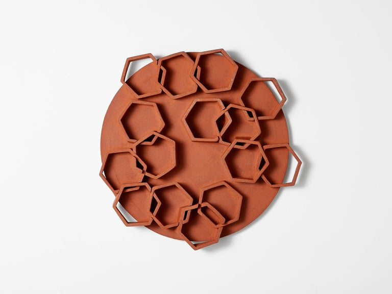 Fired Hexagon Ceramic Wall Sculpture by Ben Medansky For Sale