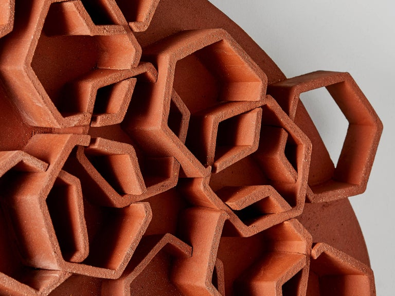Fired Hexagon Terra Cotta Wall Sculpture by Ben Medansky For Sale