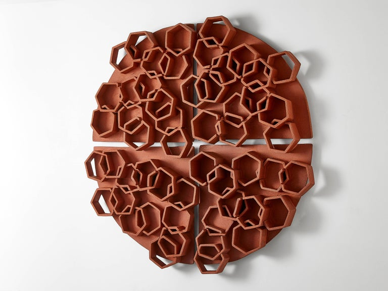 Brutalist Hexagon Terra Cotta Wall Sculpture by Ben Medansky For Sale