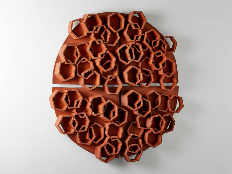 Hexagon Terra Cotta Wall Sculpture by Ben Medansky In New Condition For Sale In Los Angeles, CA