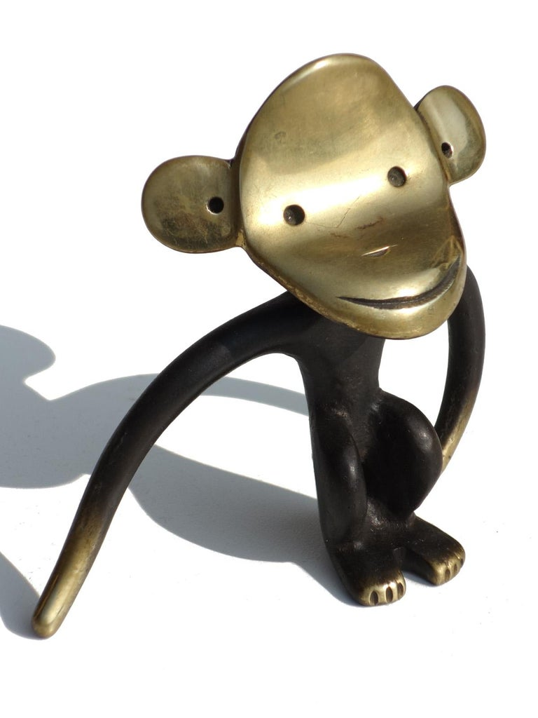 Austrian 1950s by Walter Bosse Austria Design Brass Bronze Monkey Cork Screw For Sale