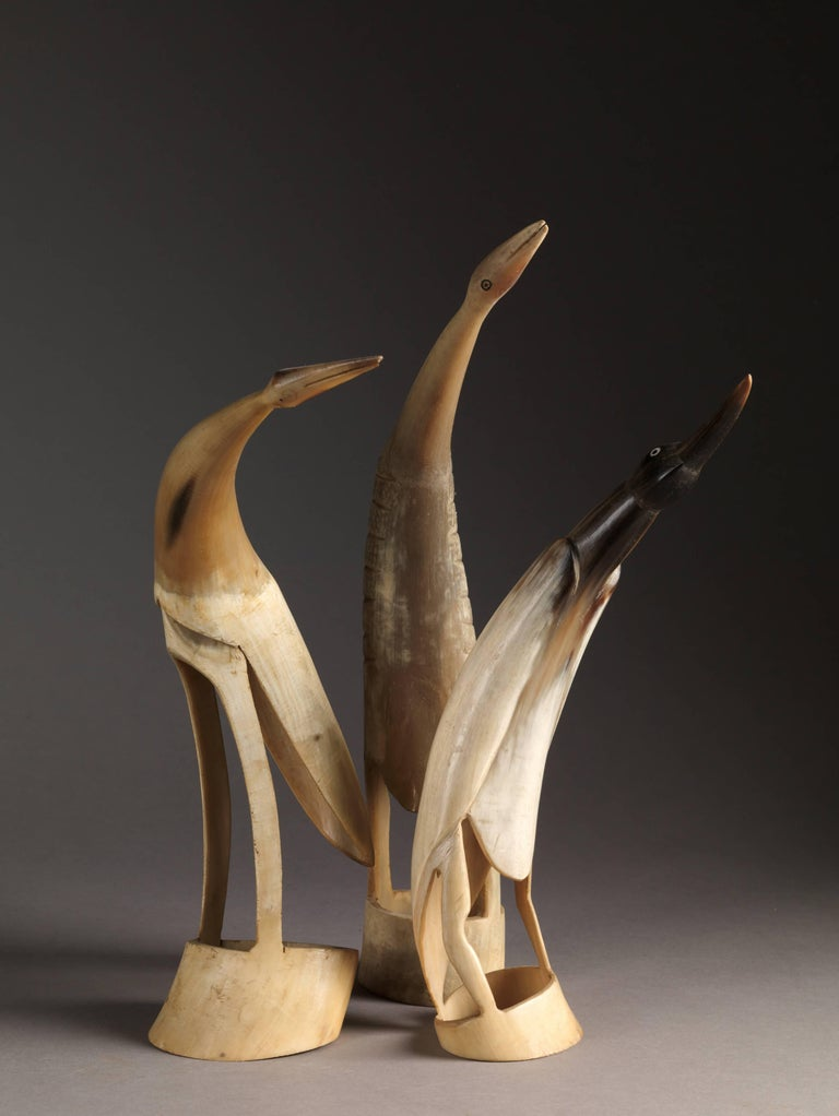 Collection of 70 Vintage Hand-Carved Cow Horn Sculptures, 20th Century For Sale 5