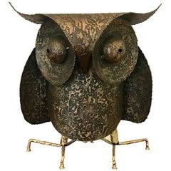 C. Jere Artisan House Large Professor Owl Brutalist Metal Sculpture