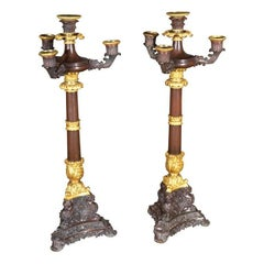 Pair French Gilt Doré Bronze Empire Candelabras