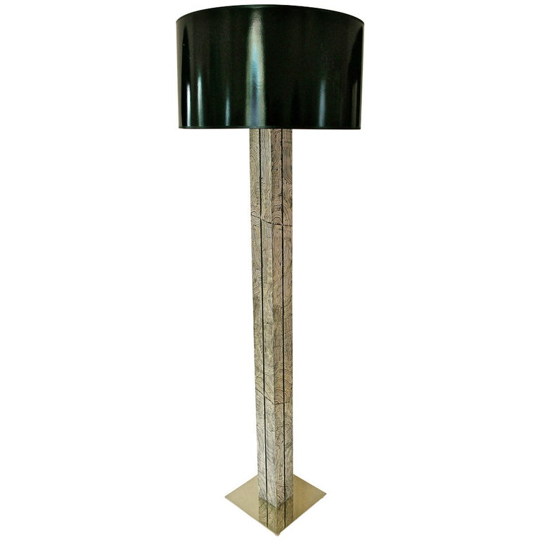 Faux Malachite Floor Lamp in the Manner of Fornasetti