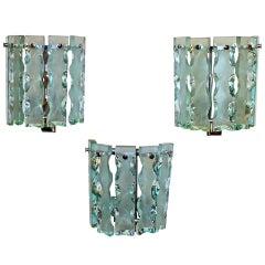 """Trio of Fontana Arte Style """"Broken Glass"""" Wall Sconces"""