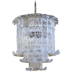 Murano Mazzega Clear Textered Glass Chandelier
