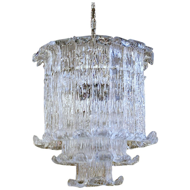 Murano Mazzega Clear Textered Glass Chandelier For Sale