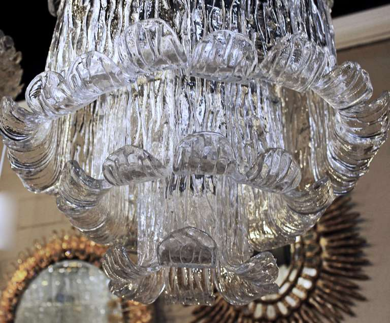 Blown Glass Murano Mazzega Clear Textered Glass Chandelier For Sale