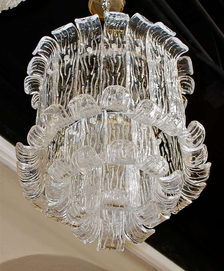 Murano Mazzega Clear Textered Glass Chandelier For Sale 1