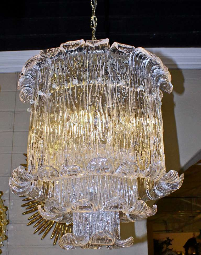 Murano Mazzega Clear Textered Glass Chandelier For Sale 2