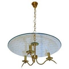 Exquisite Italian Fontana Arte Style Brass Etched Glass Chandelier
