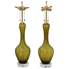 Pair of Absinthe Green Colored Italian Glass Lamps