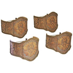 Set of Four Fabric Shield Back Sconce or Lamp Shades in Fortuny Orsini Fabric