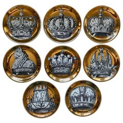 Set of Eight Fornasetti Corone Crown Coasters