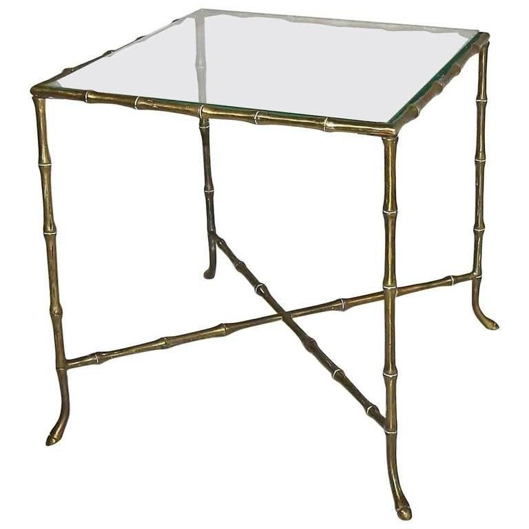 French Bagues Style Faux Brass Bamboo Side Table