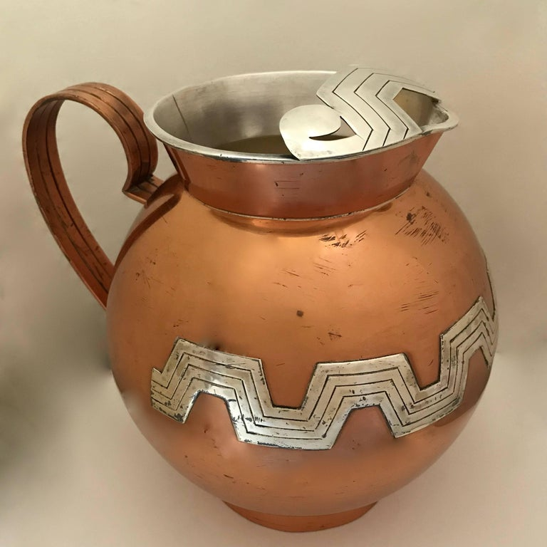 Mexican Modernist Taxco Victoria Copper And Sterling Water Pitcher Beauteous Decorative Water Pitcher
