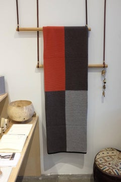 Hopscotch Purl Knit Grey and Rust Orange Cashmere Throw