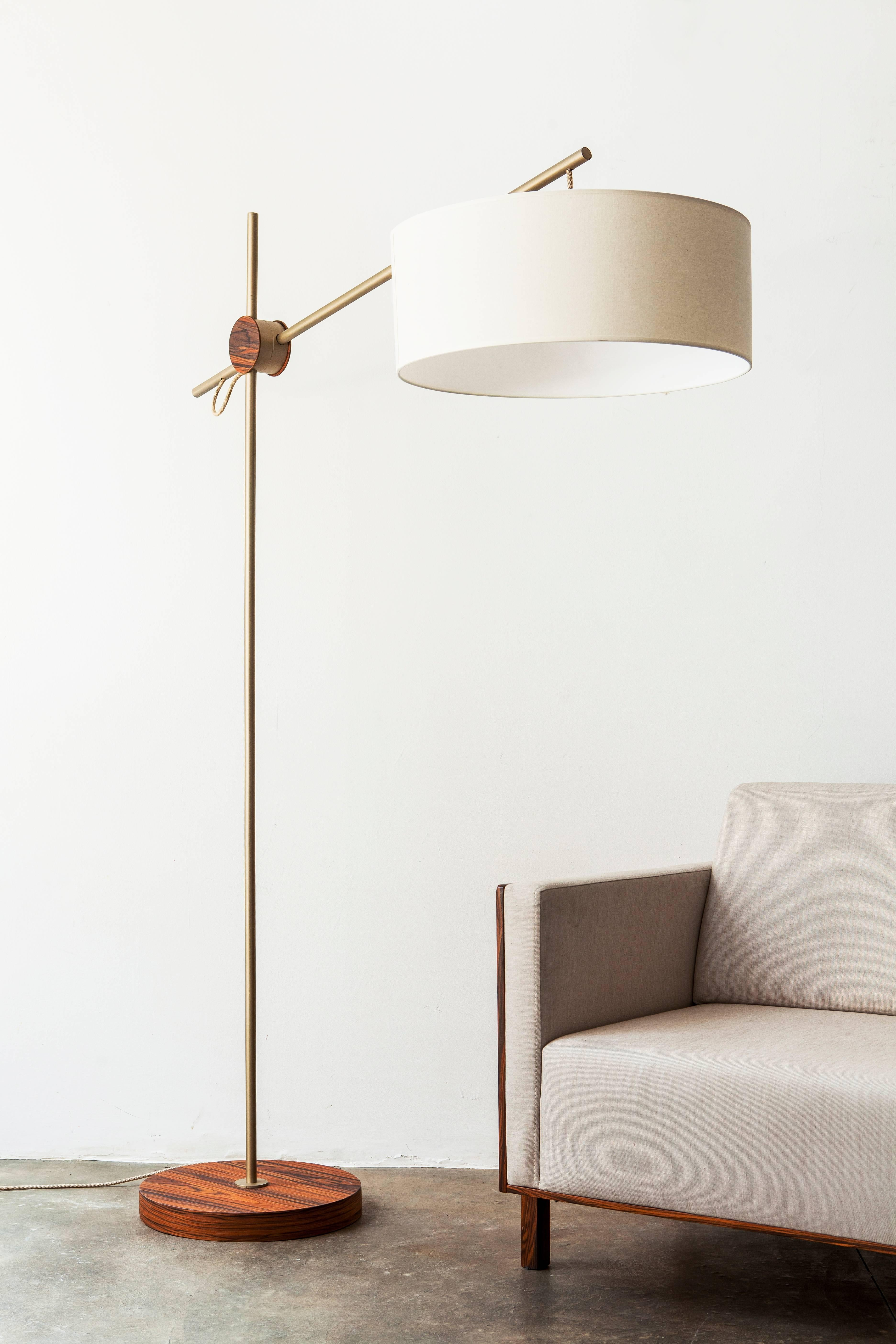 This Floor Lamp In Painted Steel And Pau Ferro Hardwood Is In The  Minimalist Style.