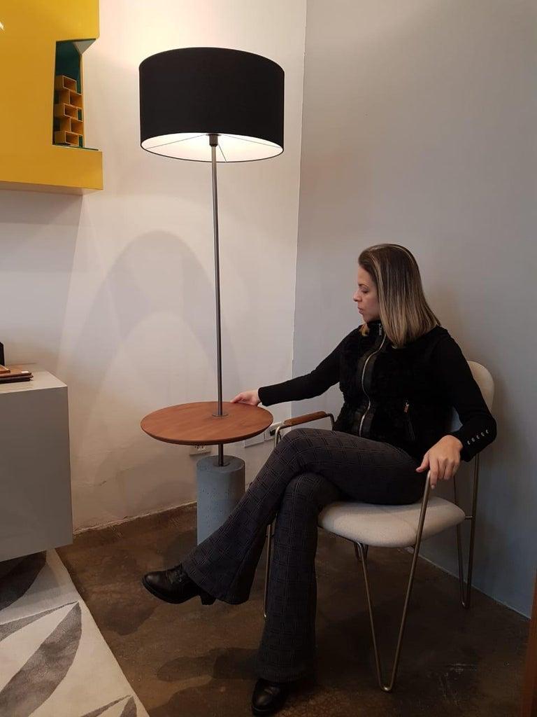 Brazilian Giro Minimalist Floor Lamp In Painted Steel, Walnut and Concrete For Sale