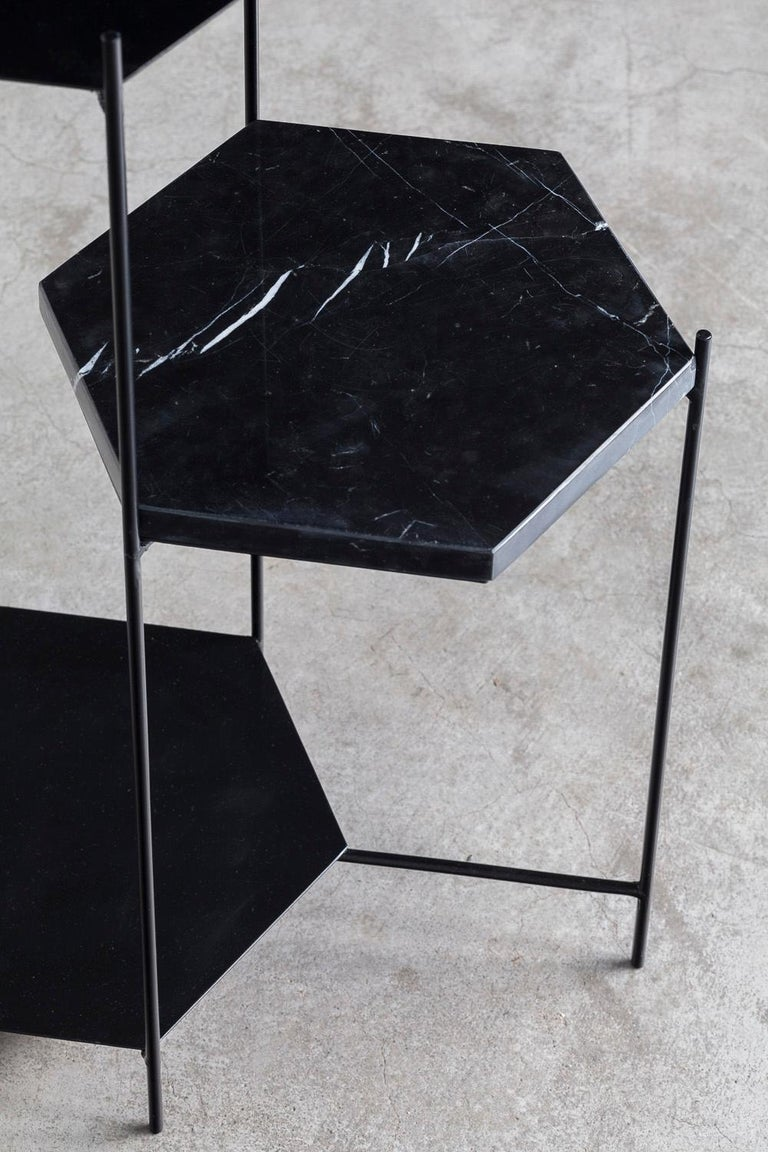 BEE Minimalist Hexagonal Side Table in Powder Coated Steel & Marble Top by Ries For Sale 9