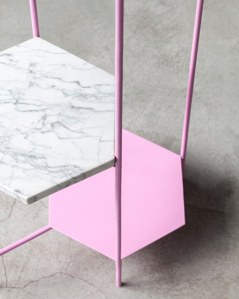 BEE Minimalist Hexagonal Side Table in Powder Coated Steel & Marble Top by Ries For Sale 11