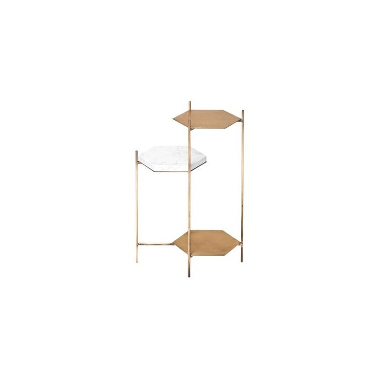 Contemporary BEE Minimalist Hexagonal Side Table in Brass & Marble Top by Ries For Sale