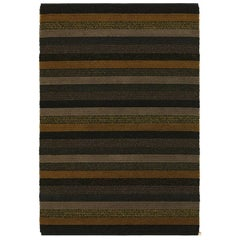 Multi-Color Stripe Woven Wool and Linen Area Rug