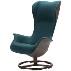 Teal Fabric & Taupe Italian Leather Tilt Swivel Ergonomic Armchair, Giorgetti,