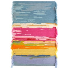Handcrafted Hand Embroidered Mohair and Metallic Yarn Multicolored Tapestry