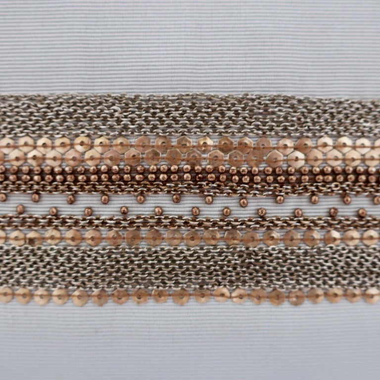 Modern Handcrafted Embroidered Chain and Metal Sequins Pillow Central Horizontal Stripe For Sale