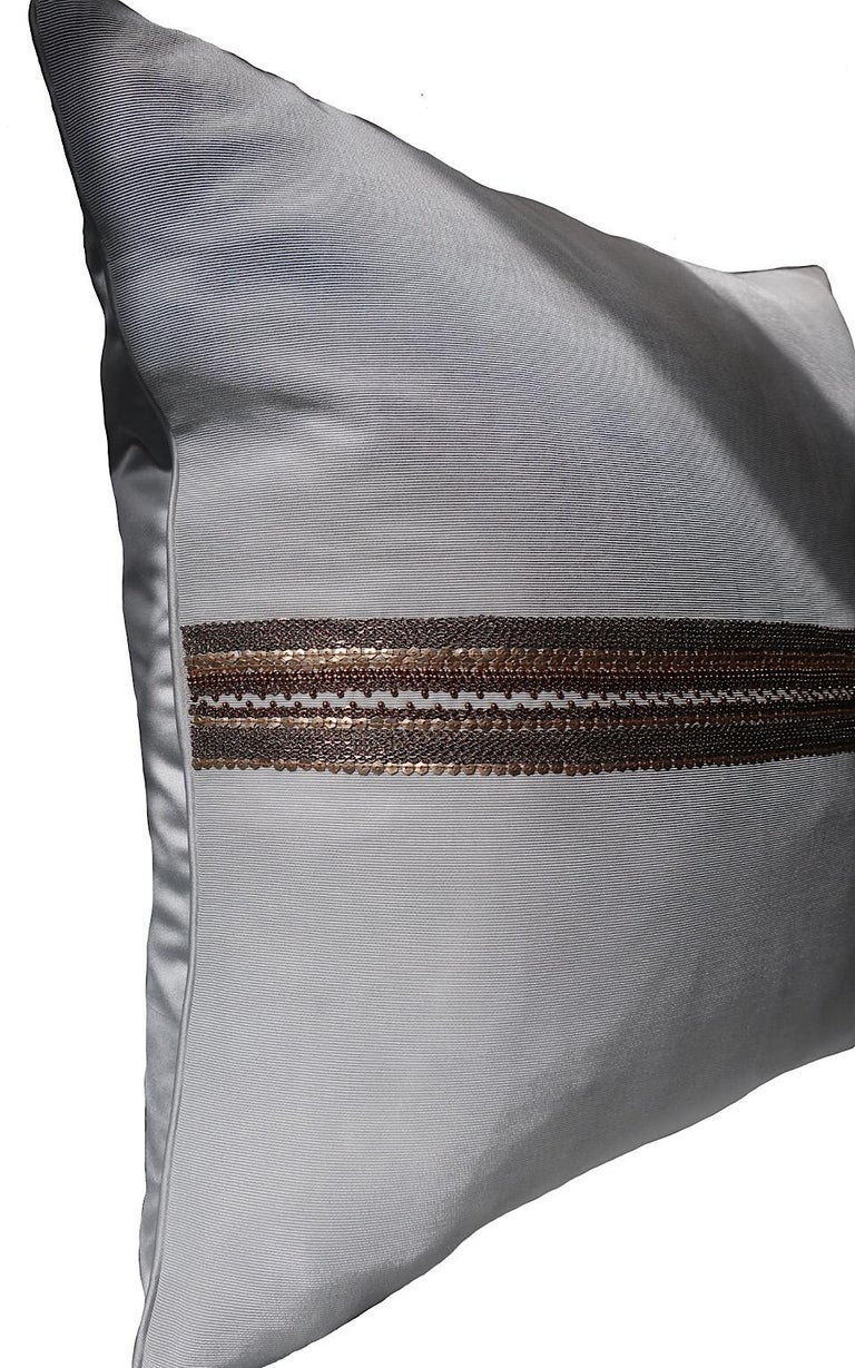 English Handcrafted Embroidered Chain and Metal Sequins Pillow Central Horizontal Stripe For Sale